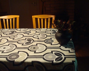 Square / Round / Oval Tablecloth with Stylized Flowers. Swedish Design Black / White / Gray Monochrome Cotton Tablecloth; Custom Tablecloth
