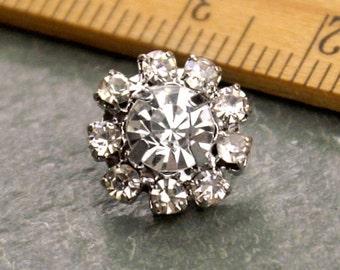 10 Small Rhinestone Button Crystal Button Silver Wedding Button Tiny FA60