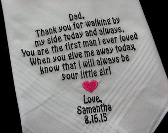 Personalized Wedding Handkerchief-Custom Father of the Bride-Bride on a Budget