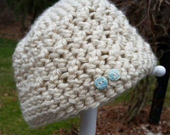 Crocheted Hat with Handmade Ceramic Buttons