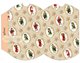 NOEL - Printable Pillow Box - Digital Image Sheet Download Box - Print and Cut