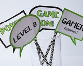Video Game Truck Party Printable GAME photo Props - Instant download - gray chevron, lime green