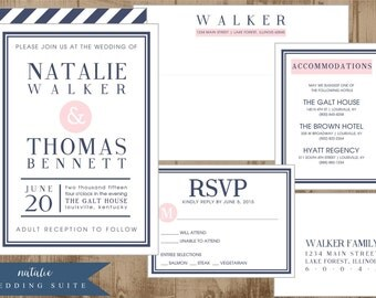 Printable Modern Navy Wedding Suite - Invitation, reply, hotel accommodations, envelope templates - pink navy preppy modern stripes