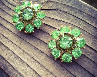 Vintage green rhinestone earrings