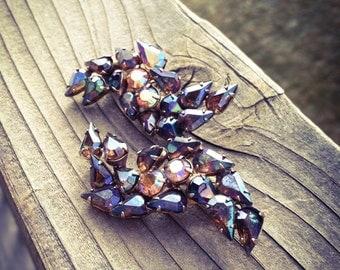 Irridescent Vintage Rhinestone Earrings