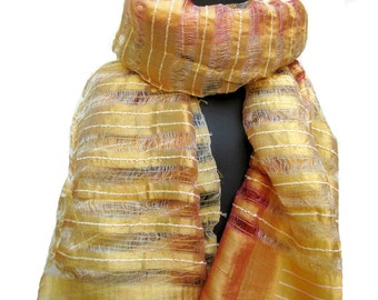 SALE! was 17 USD. Now......Golden,striped long scarf in cotton silk.Free shipping.