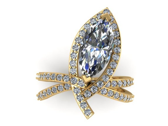 unique engagement ring bridal ring 14k yellow gold original