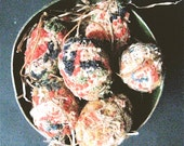 Primitive FOLK ART EGGS----Set of 10 Handcrafted Folk Art Egg Ornaments from Antique Coverlets in Hand Painted Box