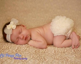 CREAM BABY BLOOMER, chiffon ruffle diaper cover, photo prop, newborn ruffle bloomer-ready to ship!
