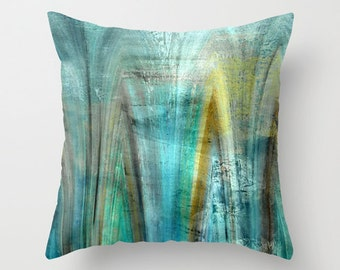 abstract throw pillow cover teal gold turquoise green brown blue modern home decor living room bedroom