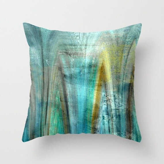 Abstract Throw Pillow Cover Teal Gold Turquoise Green Brown