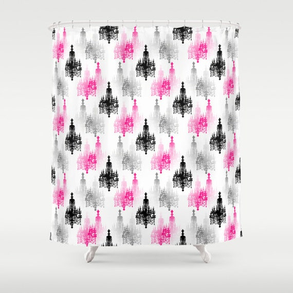 Items similar to shower curtain hot pink black grey white for Pink and gray bathroom sets