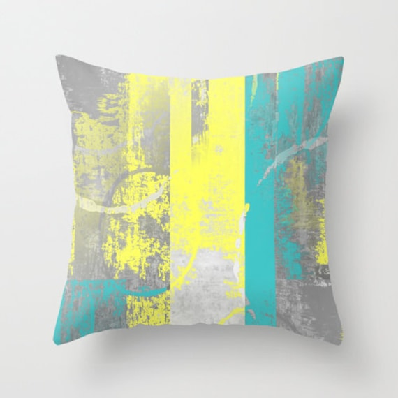 teal yellow pillow cover decorative pillow throw pillow
