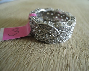 Sterling Silver Signed CZ Studded Braided Band Ring P1/2=8 (3)