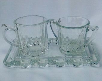 Vintage Cut Crystal Sugar Bowl and Creamer with Tray Set Wedding Formal Small Tea