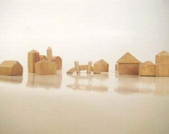 Wooden village - unfinished miniature houses - Set of 11pcs 3D houses - Miniature wooden village - DIY wooden toy