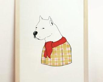 American Bulldog Dog Print Orange Plaid Red Scarf Gift Men Wall Decor Pet Puppy Animal Poster Argentine Dogo Art Lines