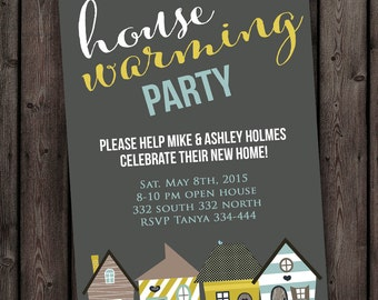 FAST Ship New home, house warming invitation, open house, any occasion invitation with customized wording AND color accent change