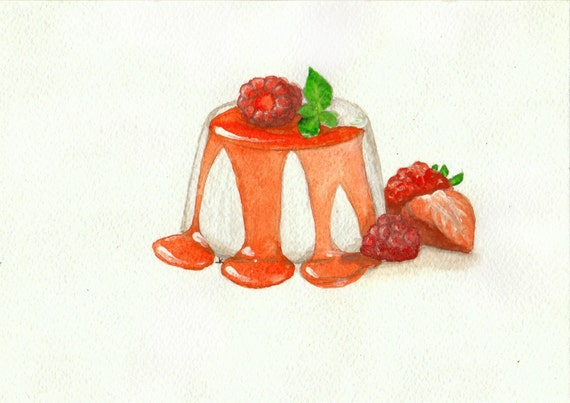 Items similar to panna cotta in strawberry sauce kitchen - Strawberry kitchen decorations ...