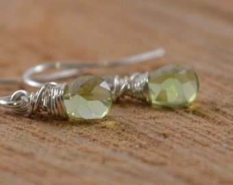 Peridot Faceted Teardrop Sterling Silver Earrings, August Birthday, Faceted Peridot, Petite Earrings, Natural Gemstone