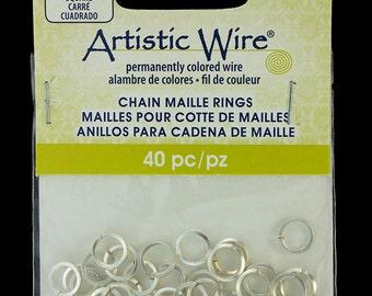 """Artistic Wire Square Wire Silver Color Jump Ring 5.5mm ID (7/32"""") 18ga (900AWSQ-08)"""