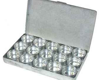 Metal Storage Box with 15 Glass Top Jars  (BX1015)