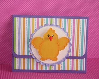 Easter Gift Card Holder - Greeting Card - Happy Easter Chick - Stripes - Embossed Chick