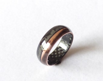 carbon fiber & copper ring wedding band