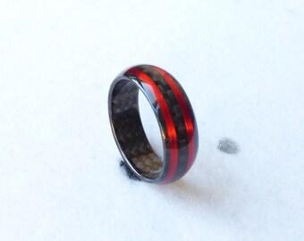 Carbon fiber ring & red copper