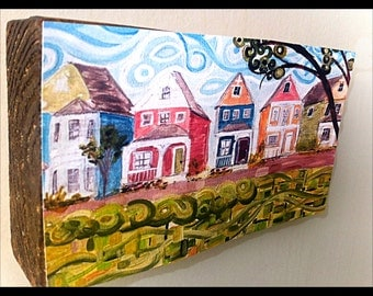 Colorful row houses mounted art print -San Francisco / Savannah abstract painting print mounted on stained wood block