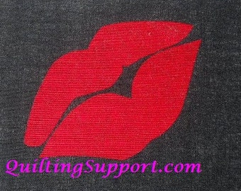 Kiss Lips Quilt Applique Pattern Design PDF