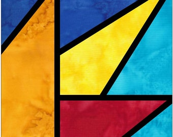 Quarter Woven Star Stained Glass Paper Piece Foundation Quilting Block Pattern