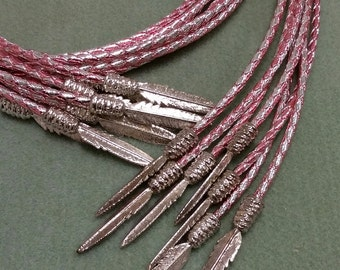 Bolo Tie Cord, Metallic Pink and  Silver  Color, 40 inches long with Bolo tips BTCWT96