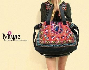 Miyachy Ethnic Embroidered Satchels - Red Lover