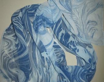 """8"""" x 54"""" hand painted 100% Silk chiffon"""