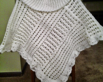 Crocheted Lightweight Poncho / Cowl Neck Poncho