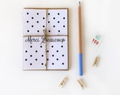 Merci Beaucoup Polka Dot Stationery-Five handmade cards, featuring hand illustrated design, printed onto natural white/kraft card stock.
