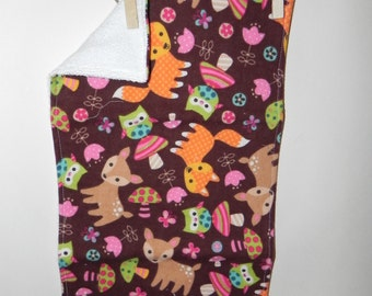 Woodland Animals Cotton Flannel and Terry Burp Cloth