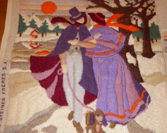 CANVAS les fiancés de NOEL, completed embroidered tapestry, vintage 1970s, steiner royal paris made in france
