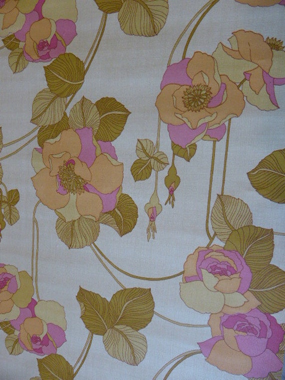 Vintage 1970s wall mural wallpaper large pink and green for Telephone mural 1970