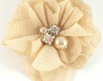 "2"" Tan chiffon rhinestone and pearl flower - Petite fabric flowers - Small flowers - Tan flowers - Wedding flowers"