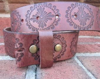 Size medium  34 inch soft genuine leather embossed brown belt strap