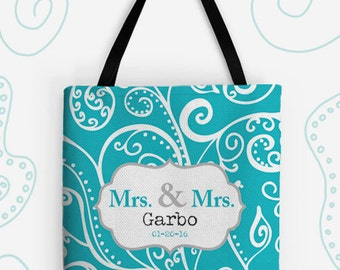 Mrs and Mrs Personalized Large Tote Bag. 14 Colors Avail. Customized Wedding Gift, Travel Bag, Vintage, Bride, Lesbian, Silent Era, Newlywed