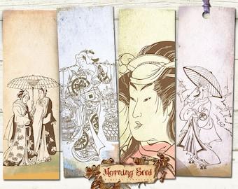 Japanese bookmark printable, Geisha graphics Set Of 4, Measures 2 x 6 inch, Japanese clipart, Oriental Printable Tags