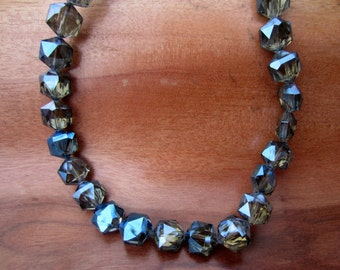 Blue Gray Aurora Borealis AB Electroplated Plated Faceted Hexagon Beads