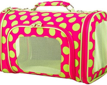 Hot Pink w/ Lime Polka Dot Pet Carrier **SOLD OUT**