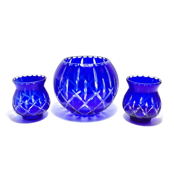 Vintage cobalt cut to clear crystal centerpiece bowl set with