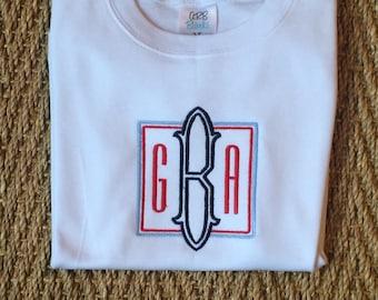 Custom monogram youth boys tee / personalized tshirt / monagrammed shirt