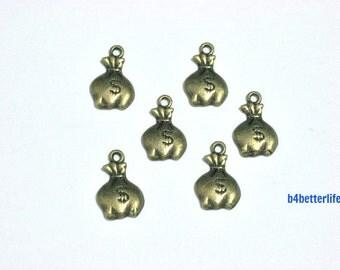 """Lot of 24pcs Antique Bronze Tone """"Money Bag"""" Metal Charms. #BC1819."""