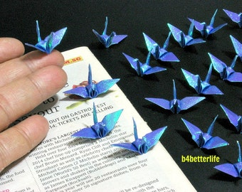 "100pcs Dark Blue Color 1.5"" Origami Cranes Hand-folded From 1.5""x1.5"" Square Paper. (TX paper series). #FC15-39."